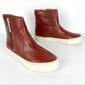 Frye Leather Gia Lug Zip High-Top Sneaker Booties Red Clay Size 7